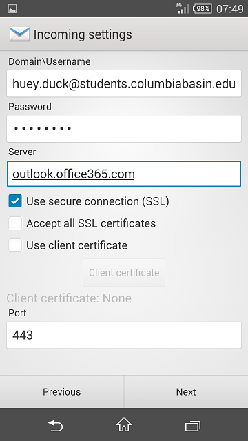 Student Email Setup on Android : Columbia Basin College